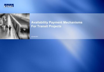 Availability Payment Mechanisms For Transit Projects - The National ...