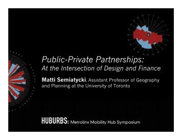Public-Private Partnerships: At the intersection of Finance and Design