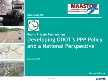 Developing ODOT's PPP Policy and a National Perspective - Ohio ...