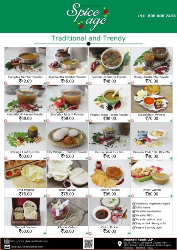 Jhaanavi Foods - Product Catalogue 17 July