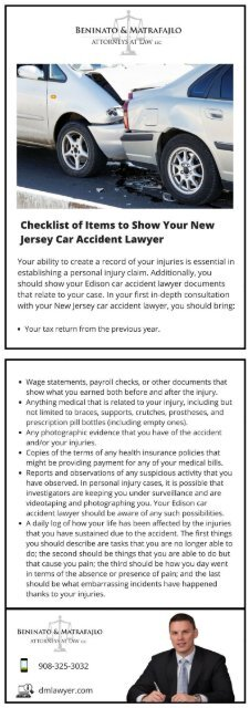 Checklist of Items to Show Your New Jersey Car Accident Lawyer