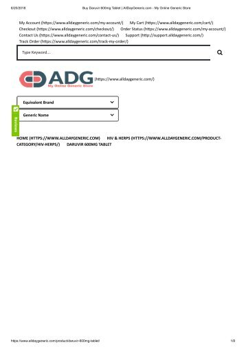 Buy Daruvir 600mg Tablet _ AllDayGeneric.com - My Online Generic Store