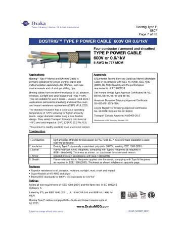Bostrig Type P Power Cable Draka Marine Oil Amp Gas