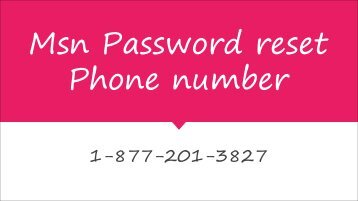 Msn Password reset Phone number | Recovery