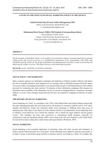 Contemporary Marketing Review Vol. 1(2) pp. 10 – 13, April, 2011 ...