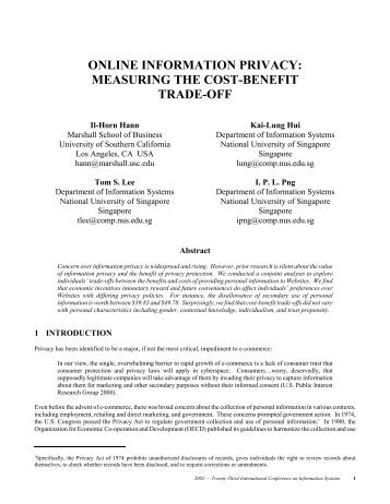 online information privacy: measuring the cost-benefit trade-off