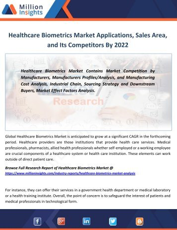 Healthcare Biometrics Market Applications, Sales Area, and Its Competitors By 2022