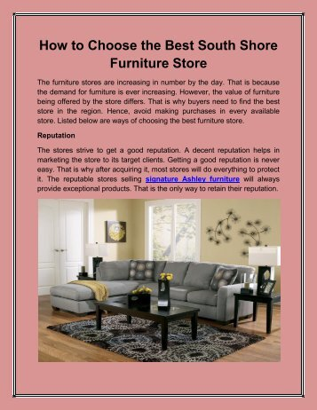 How to Choose the Best South Shore Furniture Store