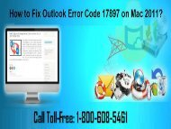 Call +1-800-608-5461 To Fix Outlook Error Code 17897 in Mac
