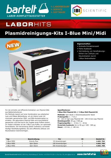 Flyer of the week Plasmidreinigungs-KITS Bartelt