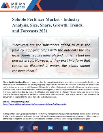 Soluble Fertilizer Market Segmented by Material, Type, Application, and Geography - Growth, Trends and Forecast 2021