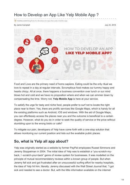 How to Develop an App Like Yelp Mobile App