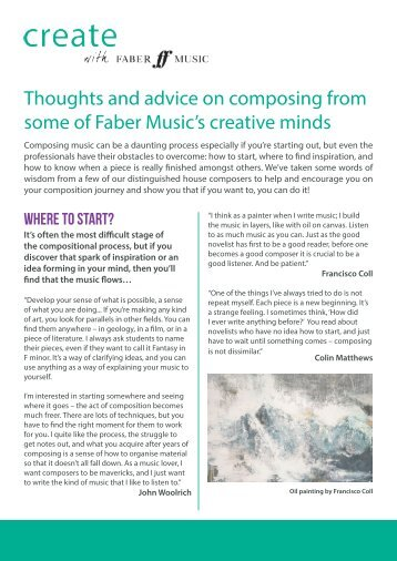 Thoughts and advice on composing from some of Faber Music's creative minds
