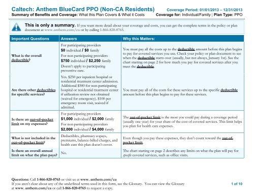 Caltech: Anthem BlueCard PPO (Non-CA Residents)