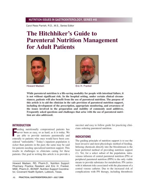 The Hitchhiker's Guide to Parenteral Nutrition Management for Adult .