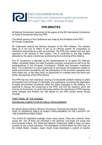 ppn minutes - Public Procurement Network