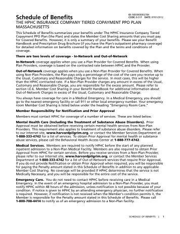 Schedule of Benefits - Town of Barnstable