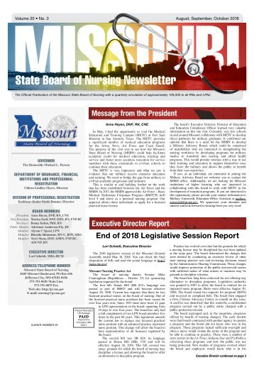 Missouri State Board of Nursing Newsletter - August 2018