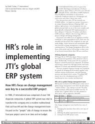 HR's role in implementing JTI's global ERP system - ORG 8220 Wiki