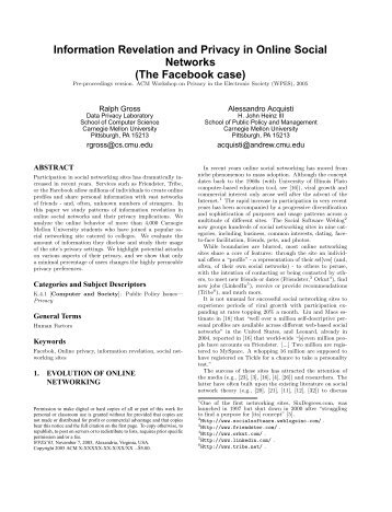 Information Revelation and Privacy in Online Social Networks (The ...