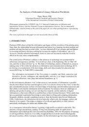 An Analysis of Information Literacy Education Worldwide - Unesco