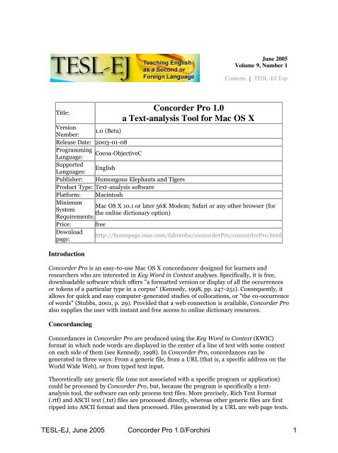 Concorder Pro 1 0 a Text-analysis Tool for Mac OS X - TESL-EJ