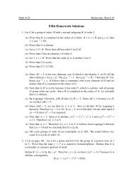 Fifth Homework Solutions