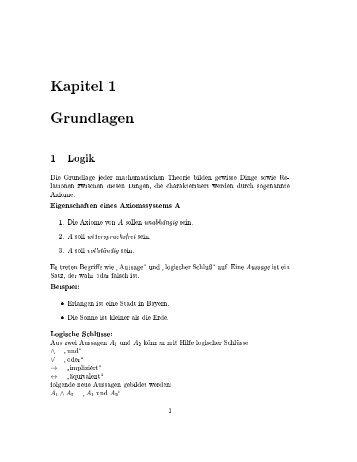 Kapitel rundlagen 1 Logik Die Grundlage jeder mathematischen ...