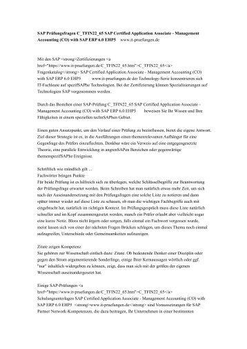 SAP Prüfungsfragen C_TFIN22_65