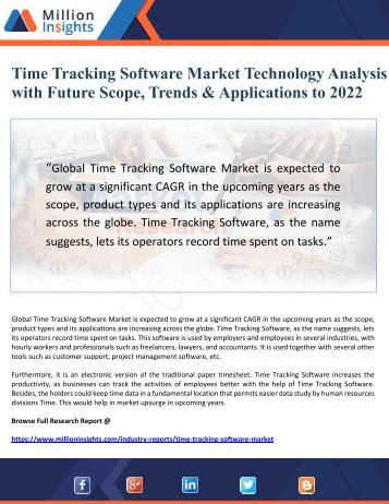 Time Tracking Software Market Technology Analysis with Future Scope, Trends & Applications to 2022