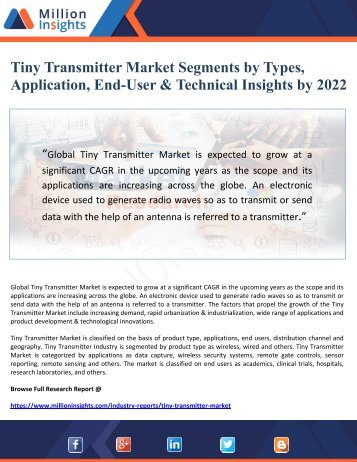 Tiny Transmitter Market Segments by Types, Application, End-User & Technical Insights by 2022