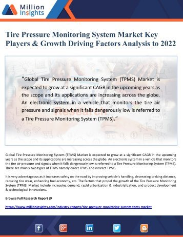 Tire Pressure Monitoring System Market Key Players & Growth Driving Factors Analysis to 2022