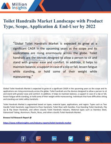 Toilet Handrails Market Landscape with Product Type, Scope, Application & End-User by 2022