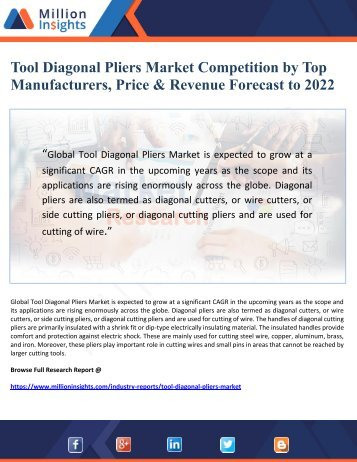 Tool Diagonal Pliers Market Competition by Top Manufacturers, Price & Revenue Forecast to 2022