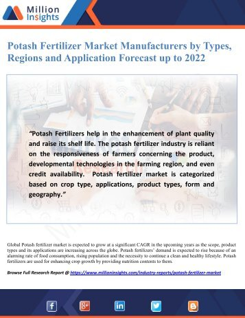 Potash Fertilizer Market Manufacturers by Types, Regions and Application Forecast up to 2022