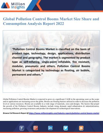 Global Pollution Control Booms Market Size Share and Consumption Analysis Report 2022