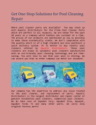 Get One-Stop Solutions for Pool Cleaning Repair
