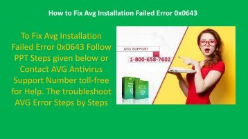 Call 1-800-658-7602 to Fix Avg Installation Failed Error Code 0x0643