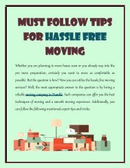 Must Follow Tips for Hassle Free Moving