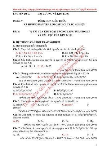 [ Chuyên đề 1+2 ] Phát triển tư duy sáng tạo giải nhanh bài tập Hóa học Đại cương và vô cơ 12 - Nguyễn Minh Tuấn
