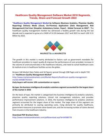 Healthcare Quality Management Software Market 2018