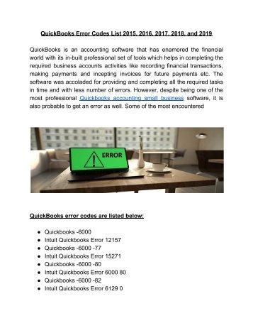 Top 100 Common QuickBooks Error Codes List +1-844-857-4846