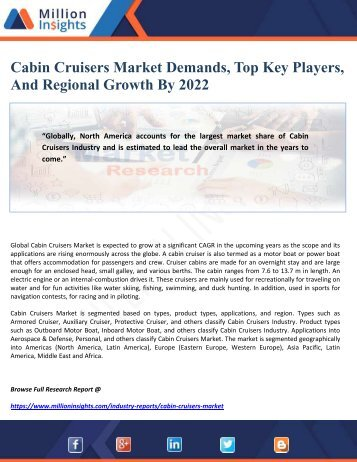 Cabin Cruisers Market Demands, Top Key Players, And Regional Growth By 2022
