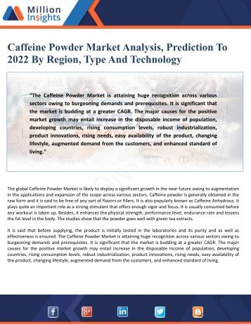 Caffeine Powder Market Analysis, Prediction To 2022 By Region, Type And Technology