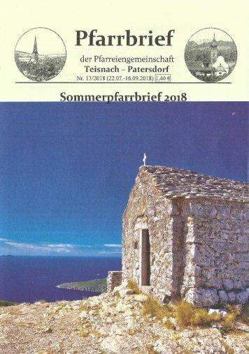 Pfarrbrief Sommerferien 2018