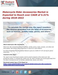 Motorcycle Rider Accessories Market is Expected to Reach over CAGR of 5.31% during 2018-2022