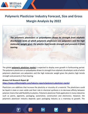 Polymeric Plasticizer Industry Outlook, End Users Analysis and Share by Type to 2022