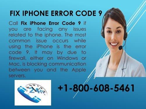 Fix iPhone Error Code 9 1-800-608-5461