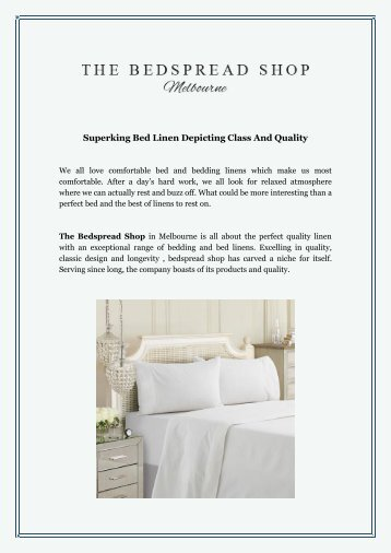 Superking Bed Linen Depicting Class And Quality