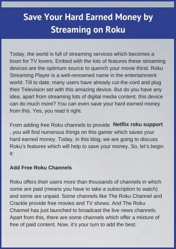 How to Save Money by Roku Streaming